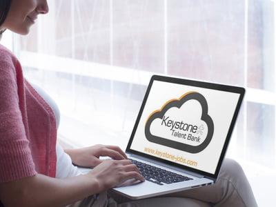 keystone talent bank logo on laptop screen